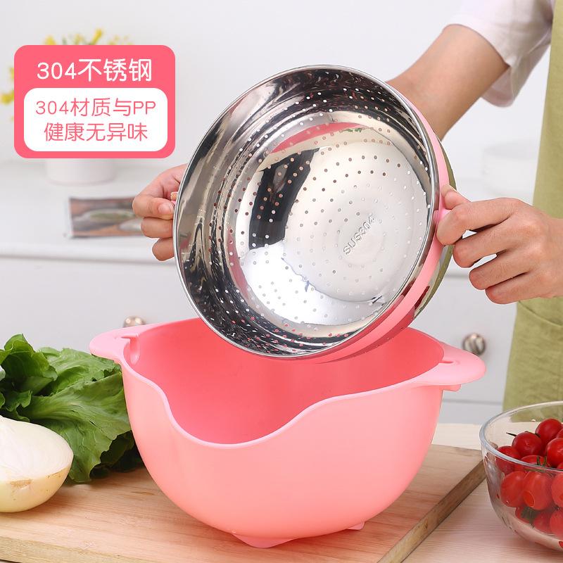 厂家直销 不锈钢可旋转304沥水盆PP材质洗菜盆淘米盆洗菜洗水果篮