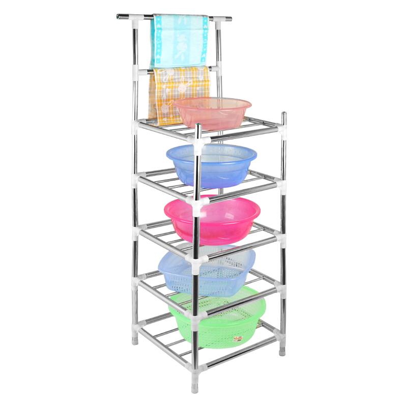 不锈钢面盆架 长方形置物架 家用厨房落地架卫生间置物架卧室架子