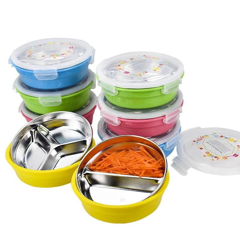 厂家批发不锈钢304圆形快餐盒 分格不串味注水保温快餐盘两格三格