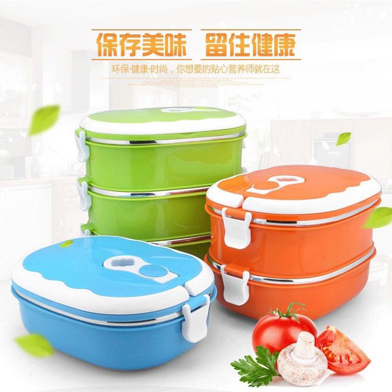 厂家直销 不锈钢新型方形塑钢饭盒 便捷式多层便当盒
